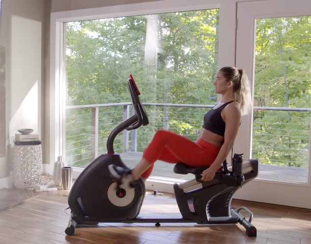 Opting or a recumbent exercise bike